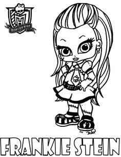 Baby Monster High Coloring Pages | Dibujo para colorear de baby Frankie Stein