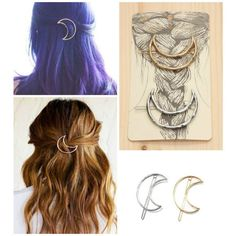 Half Moon Celestial Boho Hair Pins Barrettes ❤ liked on Polyvore featuring accessories, hair accessories, bobby hair pins, barrette hair clips, boho hair accessories, bohemian hair accessories and hair clip accessories
