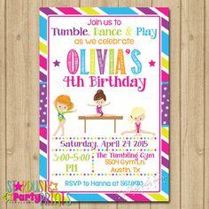 Gymnastics Birthday Invitation, Gymnastics Invitation, Tumbling Invitation, Gymnastics Party Invitation, Dance Invitation