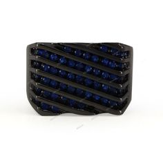 Men's 1.20 Ct Blue Sapphire Round Cut Wedding Band Ring in 10K Black Gold Finish #Affoin8 #MensRing