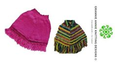 Ponchos, Small, Medium and Large knitting pattern