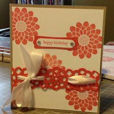 Card Stock: Crumb Cake, Whisper White, Calypso Coral / Ink: Calypso Coral / Cool Tools: Lace Border Punch, Modern Label Punch, Word Window Punch / Stamp: Teeny Tiny Wishes, Button Buddies / Embellishments: Rhinestones, Whisper White Ribbon