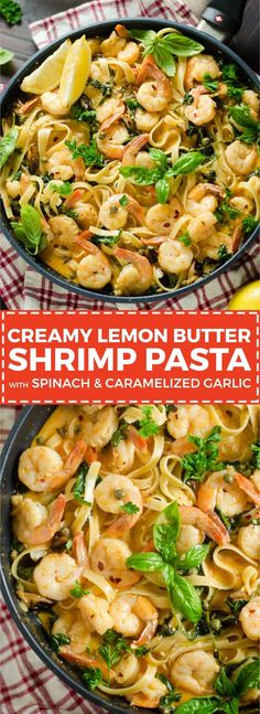 Creamy Lemon Butter Shrimp Pasta with Spinach and Caramelized Garlic. This dinner recipe dials the flavor up to 100 but is surprisingly easy to make! | hostthetoast.com