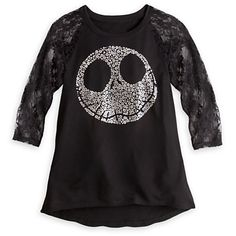 Jack Skellington Lace Sleeve Tee for Women | Tees, Tops & Shirts | Disney Store-I can do something like this with one of my old T's