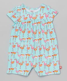Loving this Aqua Flamingo Skirted Bodysuit - Infant on #zulily! #zulilyfinds