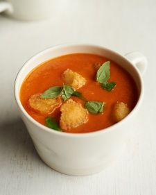 2/3/2014 Creamy Tomato Soup very good, use dia fratelli tomatoes and bread cut into cubes for crouton recipe