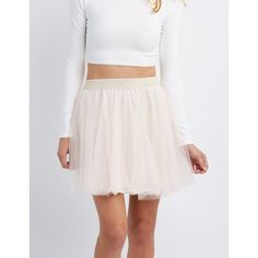 Charlotte Russe Shimmer Waistband Tulle Skater Skirt ($23) ❤ liked on Polyvore featuring skirts, blush, layered skirt, flared skater skirt, layered tulle skirt, shirred skirt and knee length skater skirt