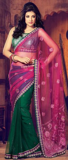 $53.07 Pink and Green Chiffon Embroidered Saree 26450