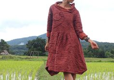 Flora Swirl  winter funky coat dress ...2 layers linen/cotton ()  (fits S-L)