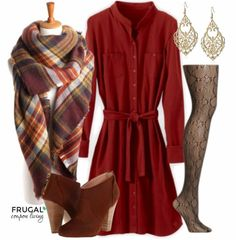 This rust dress is the perfect statement for our Thanksgiving Outfit. Pair the pattern stocking with a plaid scarf and mix in some suede booties and you are all set for the perfect fall outfit. Fall Fashion. Frugal Fashion Friday is found on Frugal Coupon Living.