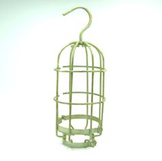 "Vintage 11 3/4"" Metal Heavy Gauge Wire Gold Tone Cage Trouble Light Industrial Safety Drop... $21.99"