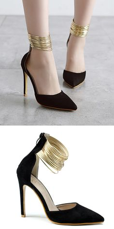 15309392cd19  15.34 Metallic Pointed Toe Pumps Pretty Shoes