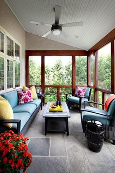 Contemporary Porch with Sunroom, Legends of Asia Black Ceramic Garden Stool, Ceiling fan, Screened porch