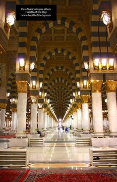 "Inside Hallway Of Masjid al-Nabawi @ Madina al-Munawwarah ""Masjid of the Prophet Muhammad ﷺ"" Al Masjid An Nabawi, Mecca Masjid, Masjid Al Haram, Islamic Images, Islamic Pictures, Islamic Art, Mecca Wallpaper, Islamic Wallpaper, Iphone Wallpaper"