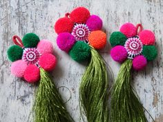 Thai pompom tassel  ONE large silky tassel with pom by TintinBeads