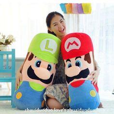 Cheap Shiping libre 1 unidades grande almohada cojín Mario y Luigi Plush pillow, Super Mario Bros Brothers Luigi felpa juguetes AY0522, Compro Calidad Animales de Peluche directamente de los surtidores de China:   1. Size: longitud 50 cm.  (Medida correcta: Pls medir desde la cabeza a los pies)