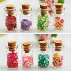 2,41 Wholesale 4pcs/Set 1:12 Dollhouse Miniature accessories DIY Various Fruit Bottles Canned Send By Random