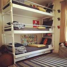 """""""triple bunk beds with trundle is what you need when you have three boys in a row! #madebyhusband #bunkbeds #furniture #design"""""""