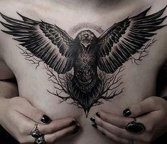 Cover Up Tattoos, New Tattoos, Tattoo No Peito Feminina, Scar Tattoo, Tattoo Art, Corvo Tattoo, Cool Chest Tattoos, Occult Symbols, Punk
