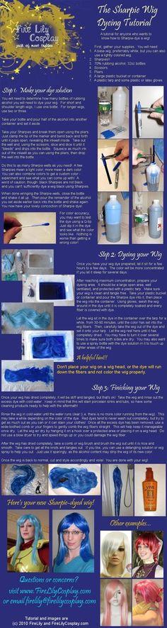 Sharpie Wig Dyeing Tutorial by FireLilyCosplay on DeviantArt