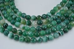 green banded agate,10mm faceted round bead,green beads,jewelry making beads,jewelry component,round bead,stone bead