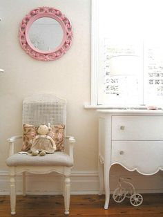girls shabby chic french bedroom vintage pastel pink plantation shutters pink mirror rag doll white french chest drawers commode rattan chair tricycle white