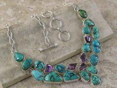 Turquoise Amethyst Huge Necklace big gemstones silver http://mandala.ecrater.com/p/15125494/turquoise-amethyst-huge-necklace-big