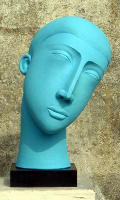 Garden Or Yard / Outside and Outdoor sculpture by artist Patricia Volk titled: 'Smaller Blue Head (abstract Contemporary Modern Blue Painted Yard statue)'