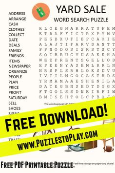 Yard sale word search puzzle is a look at getting your house clean and making a few bucks in the process with a sale! Free Word Search Puzzles, Free Printable Word Searches, Printable Puzzles, Crossword Puzzles, Free Printable Worksheets, Free Printable Coloring Pages, Puzzle Books, Worksheets For Kids, Yard Sale