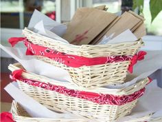 cute idea for jazzing up a basket - use a bandana!
