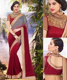 Buy Maroon Georgette Party Wear Saree 71534 with blouse online at lowest price from vast collection of sarees at Indianclothstore.com.