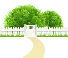 Path with Fence and Trees Transparent PNG Clipart