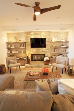 26 Sleek and Comfortable Asian Inspired Living Room Ideas>>> That fireplace! Living Room With Fireplace, New Living Room, Home And Living, Living Room Decor, Coastal Living, Fireplace Wall, Fireplace Ideas, Electric Wall Fireplace, Modern Living