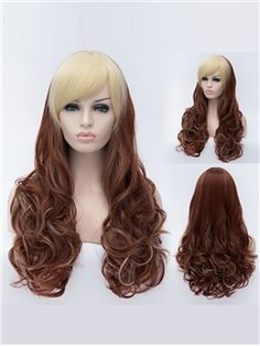 Euramerican style Mixed Color Long Wavy Wig
