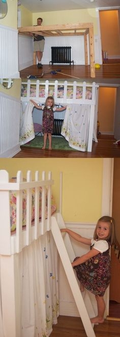 I'm sure it's for kids but um hello reading and crochet nook/fort. DIY Loft with fort below.. by tania