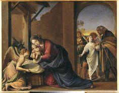 """Alessandro Tiarini """"Nativity of Jesus"""" (mid-17th century), oil on copper, 13 x 16.8 inches"""