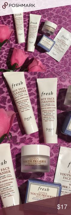 🌸Sephora's Fresh🌸 New/Unused Sephora's Fresh Bundle- Soy Face Cleanser x2= 1.0ozb(0.6floz's ea),; Lotus Youth Preserve 0.24floz with sample🌸🌸. Bundle with my discount and please take a look at my Love Notes!!! Sephora Makeup