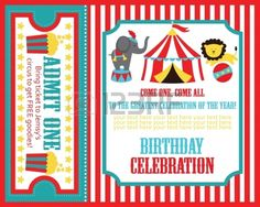 Diseño de tarjeta de invitación de cumpleaños para niños. Tema: El Circo. Foto de archivo.