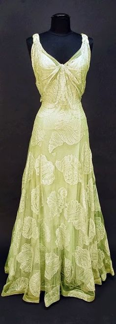 Worth Dress - c. 1932 - by House of Worth - Sleeveless pale seafoam green V-neck decorated with large shells of various types - Belonged to Elizabeth Arden - Whitaker Auction - @~ Mlle