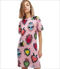 House Of Holland Exclusive Heart Print T-Shirt Dress