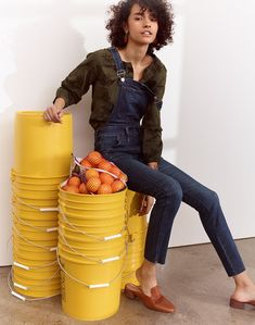579cb8662e45 madewell skinny overalls  eco edition worn with embroidered bubble-sleeve  shirt + the willa