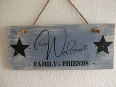Altholz Schild WELCOME FAMILY+FRIENDS Upcycling blau
