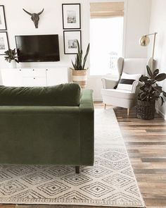 When decorating our new house, I have slowly figured out what my new favorite colors are: white, black, wood and GREEN. Still in shock that my hubby says yes to this green couch. ☺️ Nate Freng you da 💣. Living Room Green, Living Room Colors, Home Living Room, Living Room Designs, Living Room Furniture, Home Furniture, Rustic Furniture, Antique Furniture, Outdoor Furniture