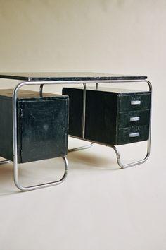 Black Oak And Tubular Steel Desk 1930s