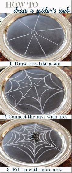 Learn the super simple way to draw a spider web! Halloween Chalkboard via Unskinny Boppy Halloween Images, Halloween Spider, Creepy Halloween, Holidays Halloween, Halloween Crafts, Halloween Decorations, Easy Halloween Drawings, Kid Crafts, Halloween Ideas