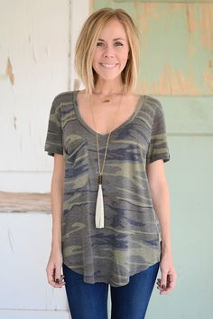 Perfect Pocket Tee - Camo from Page 6 Boutique