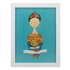 Quadro Turquoise Happy Frida Kahlo - Col. Exclusiva