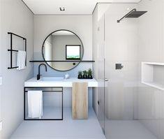 banheiro com acabamento em pastilhas, espelho redondo, marcenaria, composição de volumes e formas, elementos metálicos.