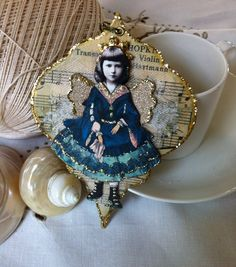 Christmas Ornament Tag Mixed Media Paper Doll Angel by ParisPluie