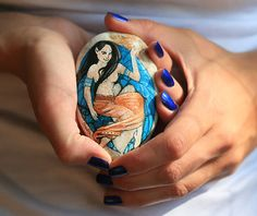 Stone with a hand-painted oriental fairy Scheherazade by SkadiaArt